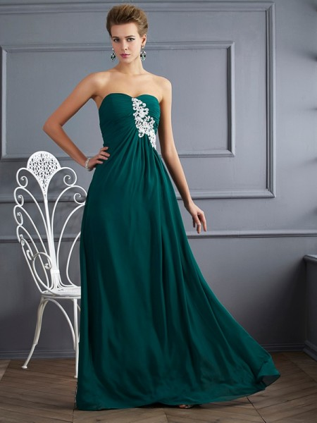 Sheath/Column Sweetheart Beading Dress with Long Chiffon