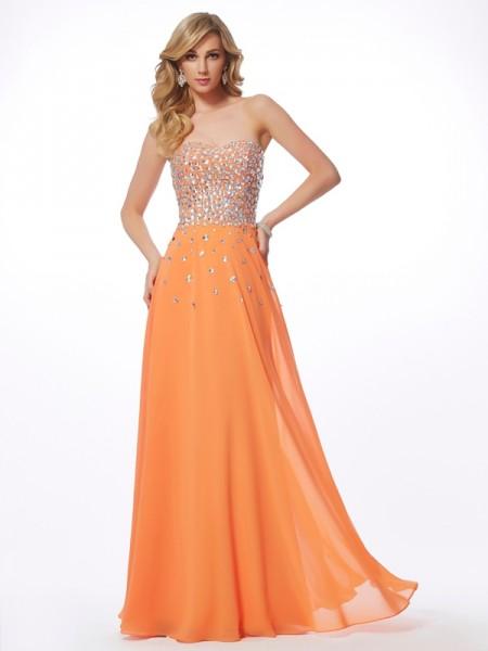 A-Line/Princess Sweetheart Dress with Long Chiffon