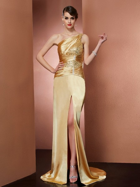 Sheath/Column One-Shoulder Beading Long Elastic Woven Satin Dress