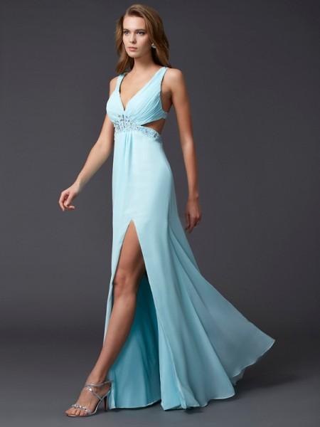Sheath/Column V-neck Beading Dress with Long Chiffon