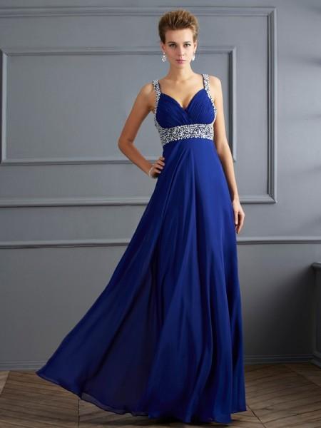 Sheath/Column Straps Beading Dress with Long Chiffon