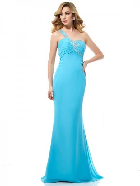 Trumpet/Mermaid One-Shoulder Beading Dress with Long Chiffon