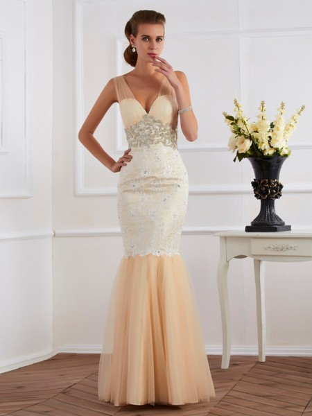 Trumpet/Mermaid Straps Beading Long Net Dress