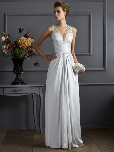 A-Line/Princess Straps Beading Long Silk like Satin Dress