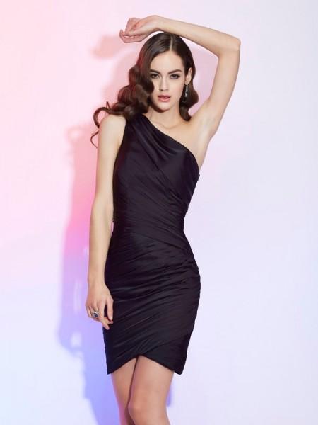 Sheath/Column One-Shoulder Pleats Short Chiffon Homecoming Dress