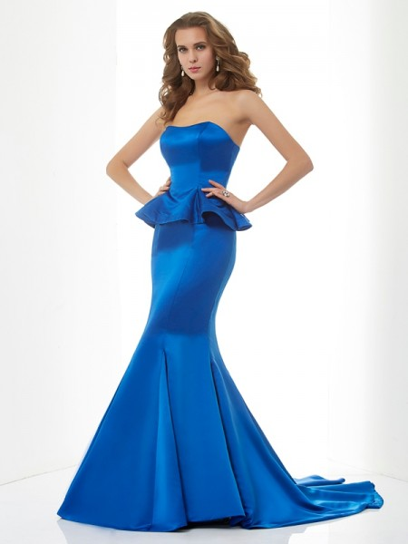 Trumpet/Mermaid Sweetheart Long Satin Bridesmaid Dress