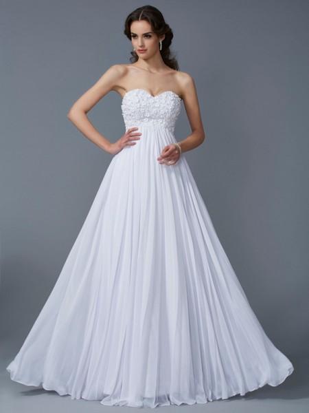 A-Line/Princess Sweetheart Ruffles Dress with Long Chiffon