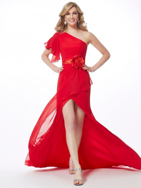 Trumpet/Mermaid One-Shoulder Dress with Long Chiffon