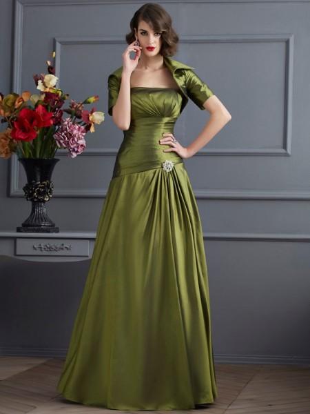 A-Line/Princess Strapless Beading Long Taffeta Mother of the Bride Dress
