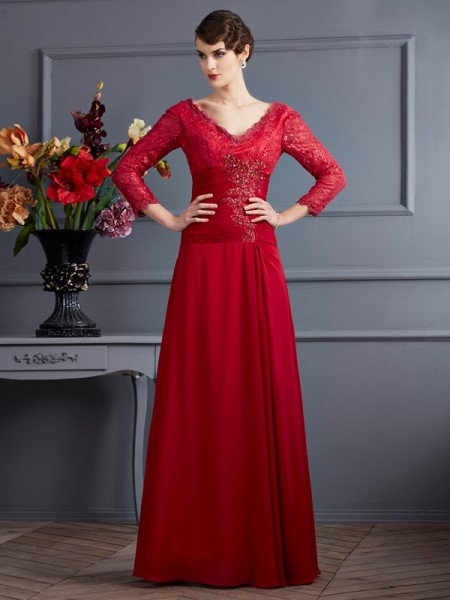 Sheath/Column V-neck Lace Dress with Long Chiffon