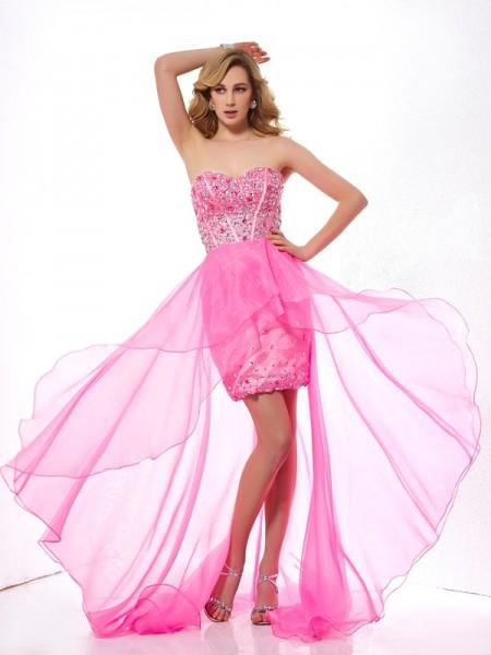 A-Line/Princess Sweetheart Beading High Low Organza Dress