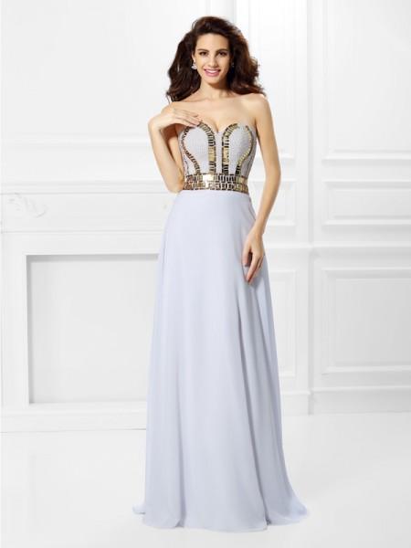 Empire Sweetheart Pleats Dress with Long Chiffon