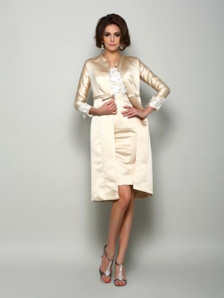 Sheath/Column Square Applique Short Sleeves Short Satin Mother of the Bride Dress