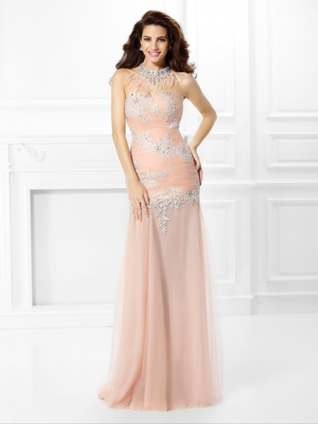 Trumpet/Mermaid Sweetheart Applique Dress with Long Chiffon