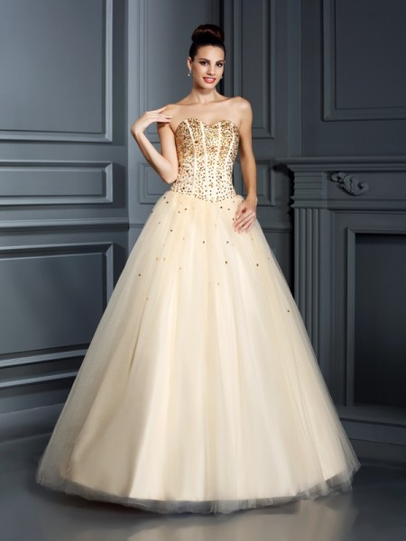 Ball Gown Sweetheart Beading Long Satin Quinceanera Dress