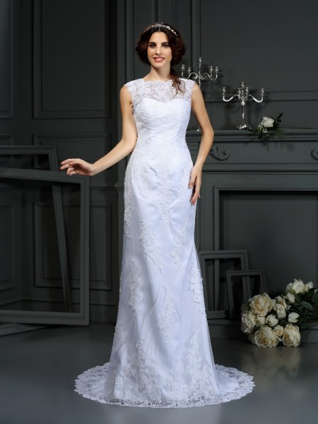 Sheath/Column High Neck Lace Long Lace Wedding Dress
