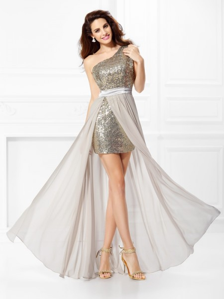 A-Line/Princess One-Shoulder Sequin Dress with Long Chiffon