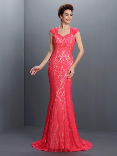 Trumpet/Mermaid V-neck Lace Long Lace Dress