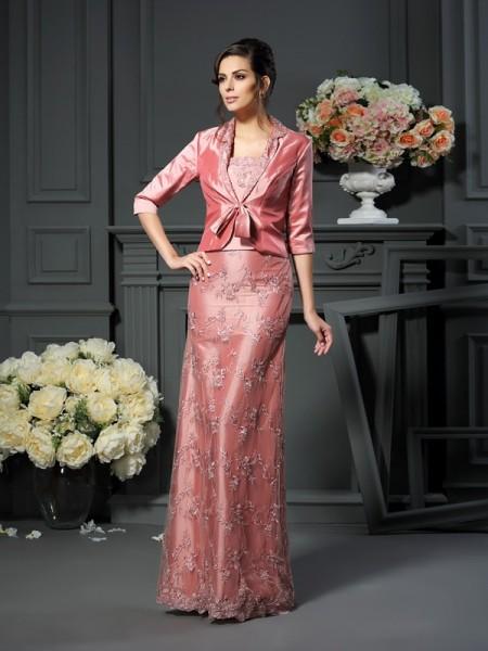A-Line/Princess Straps Lace Long Taffeta Mother of the Bride Dress