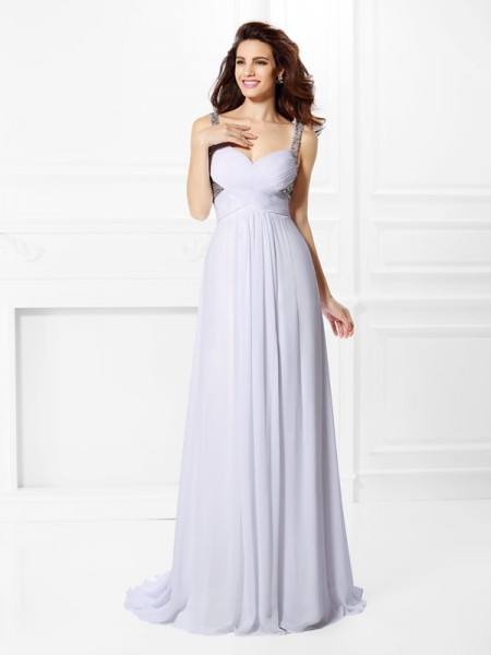 A-Line/Princess Straps Pleats Beading Dress with Long Chiffon