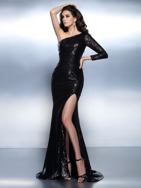 Trumpet/Mermaid One-Shoulder Paillette Long Sleeves Long Lace Dress