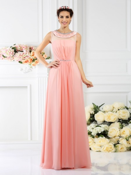 A-Line/Princess Bateau Beading Bridesmaid Dress with Long Chiffon