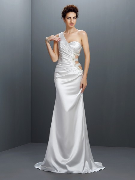 Trumpet/Mermaid One-Shoulder Beading Long Elastic Woven Satin Dress