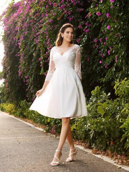 A-Line/Princess V-neck Short Chiffon Wedding Dress