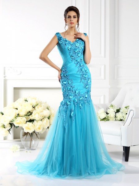Trumpet/Mermaid Straps Applique Long Silk like Satin Dress