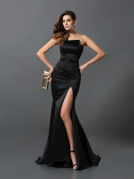 Sheath/Column Strapless Sash/Ribbon/Belt Long Satin Dress