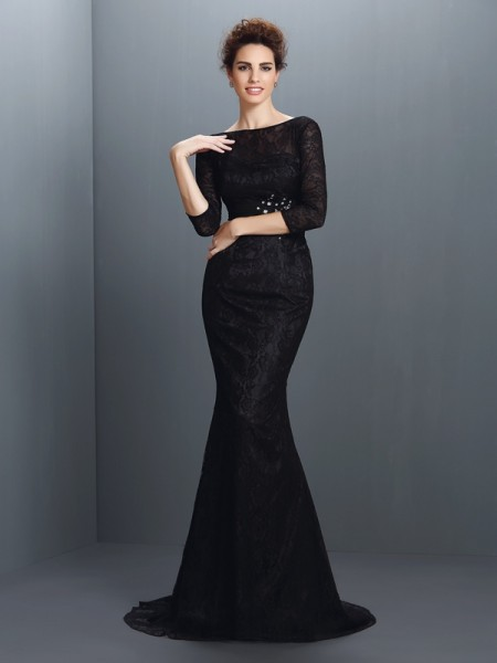 Trumpet/Mermaid Bateau Lace Long Elastic Woven Satin Mother of the Bride Dress