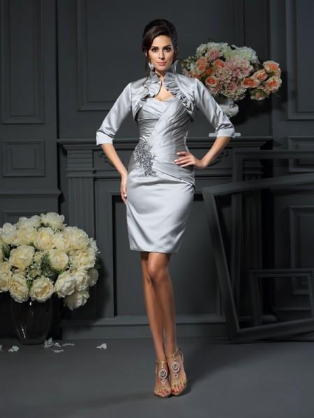 Sheath/Column Sweetheart Beading Short Satin Mother of the Bride Dress