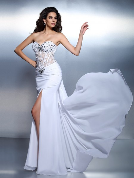 Trumpet/Mermaid Sweetheart Pleats Dress with Long Chiffon