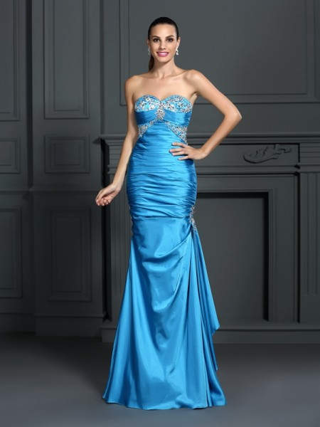 Trumpet/Mermaid Sweetheart Beading Long Elastic Woven Satin Dress