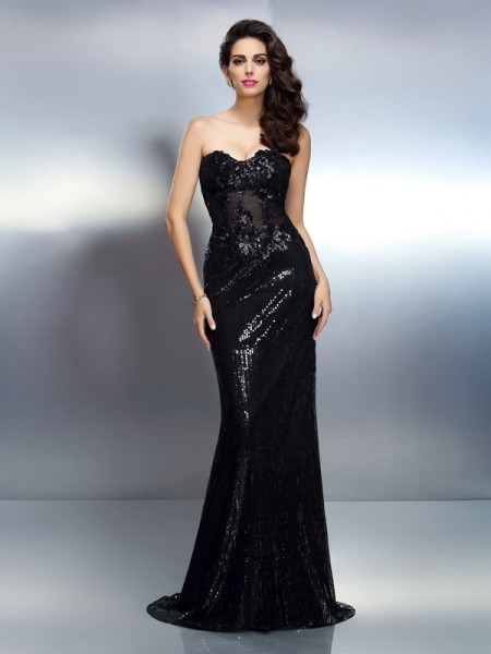Trumpet/Mermaid Sweetheart Applique Long Lace Dress