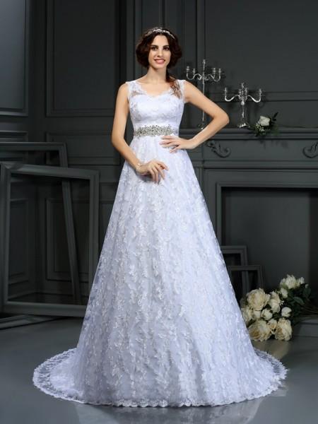 A-Line/Princess V-neck Lace Long Satin Wedding Dress