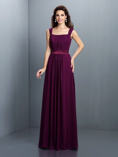 A-Line/Princess Square Pleats Bridesmaid Dress with Long Chiffon