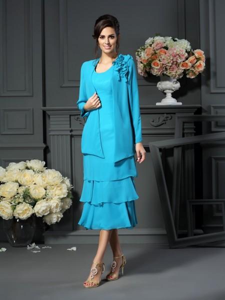 A-Line/Princess Scoop Short Chiffon Mother of the Bride Dress