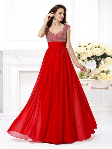 A-Line/Princess Straps Beading Paillette Dress with Long Chiffon