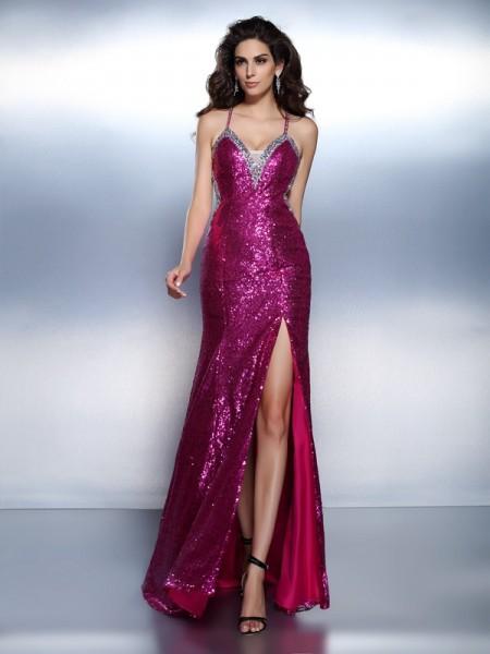 Trumpet/Mermaid Spaghetti Straps Beading Dress with Long Chiffon