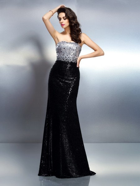 Trumpet/Mermaid Strapless Sequin Long Sequins Dress