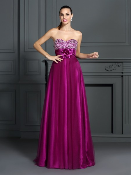 A-Line/Princess Sweetheart Long Elastic Woven Satin Dress