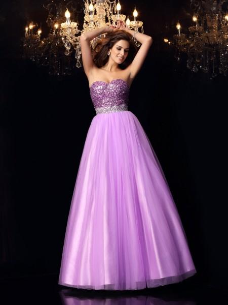 Ball Gown Sweetheart Sequin Long Elastic Woven Satin Quinceanera Dress