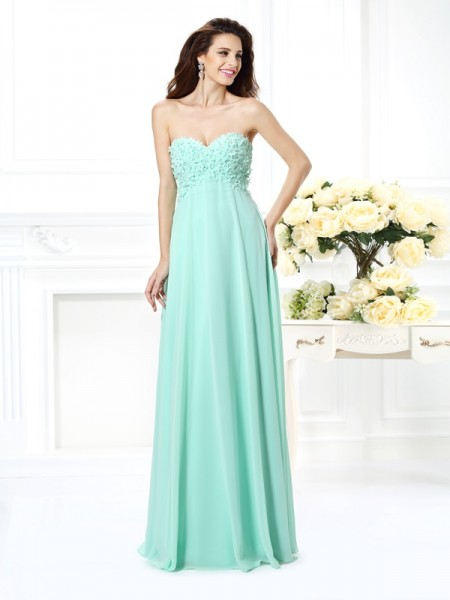 A-Line/Princess Sweetheart Bridesmaid Dress with Long Chiffon