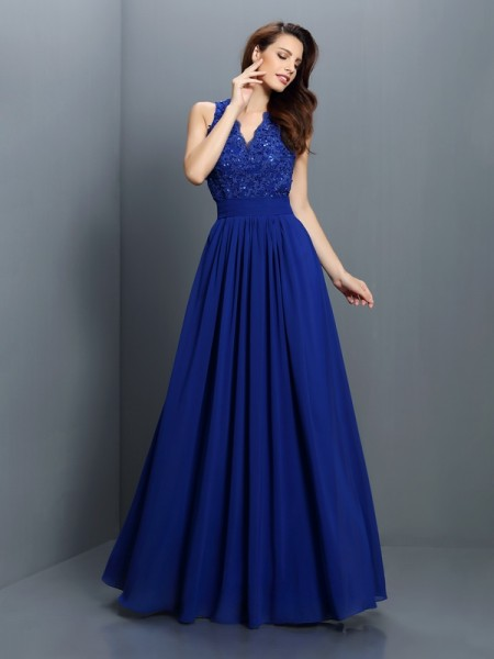 A-Line/Princess V-neck Applique Bridesmaid Dress with Long Chiffon