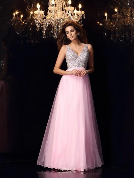 A-Line/Princess V-neck Ruffles Long Elastic Woven Satin Dress
