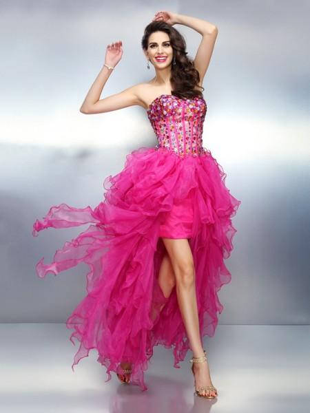 A-Line/Princess Sweetheart High Low Organza Cocktail Dress