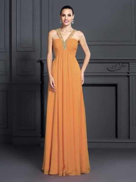 A-Line/Princess Halter Beading Dress with Long Chiffon