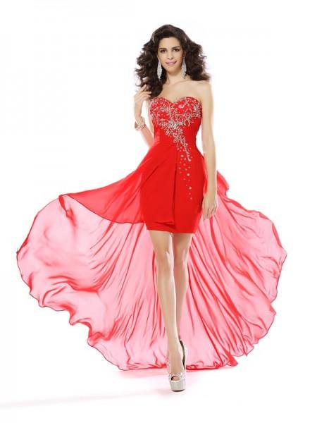 Sheath/Column Sweetheart Beading Short Chiffon Cocktail Dress