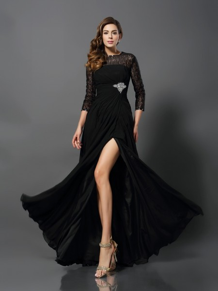A-Line/Princess Bateau Long Lace Dress